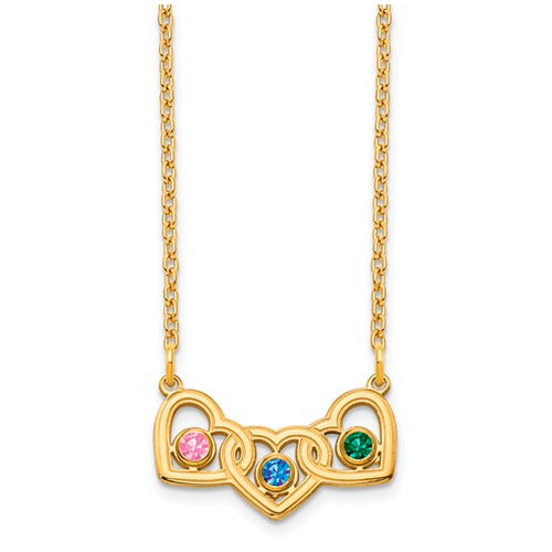 Interlocking Hearts Necklace with 3 birthstones