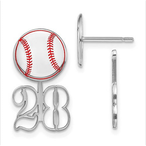 Sterling Silver Small Epoxied Baseball Earring and Number Jacket