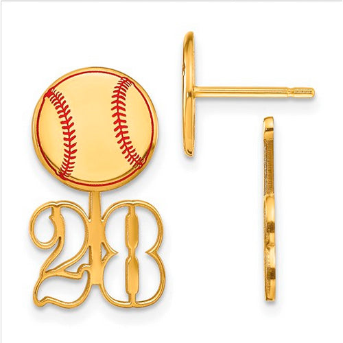 GP Small Epoxied Baseball Earring and Number Jacket