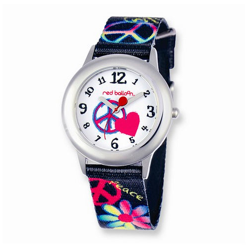 Red Balloon Peace Printed Band Tween Watch