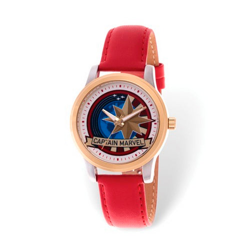Marvel Adult Captain Marvel Two-tone Red Leather Watch