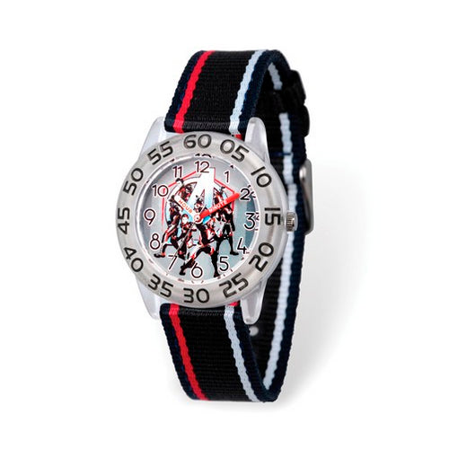 Marvel Kids Avengers Time Teacher Striped Black Nylon Watch