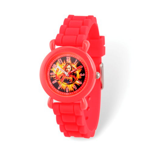 Marvel Kids Avengers Captain Marvel Time Teacher Red Silicone Watch