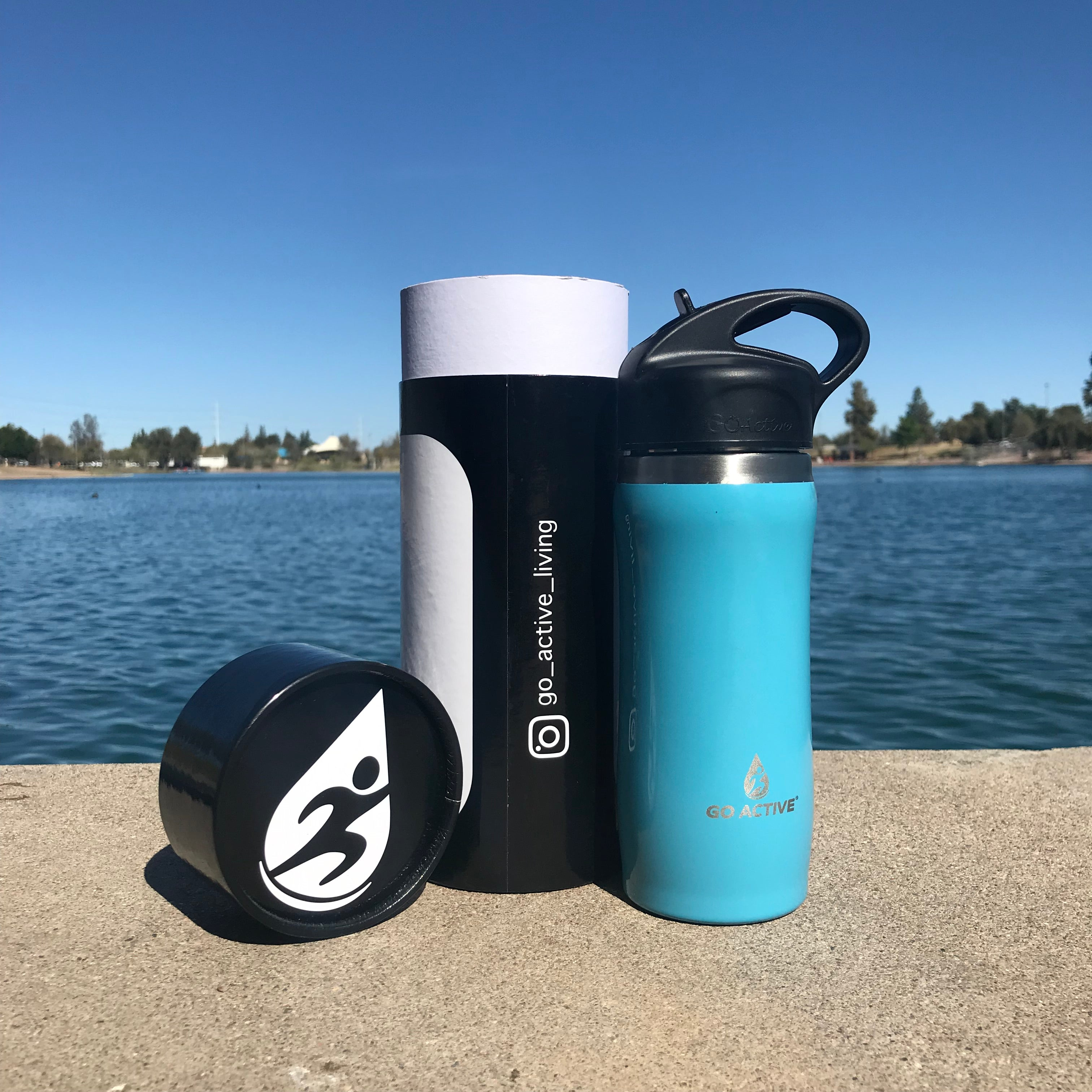 Insulated Water Bottle with Straw - 16oz. Dolphin Blue