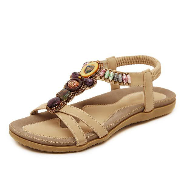 Bohemia Bead Flat Bottomed Sandals