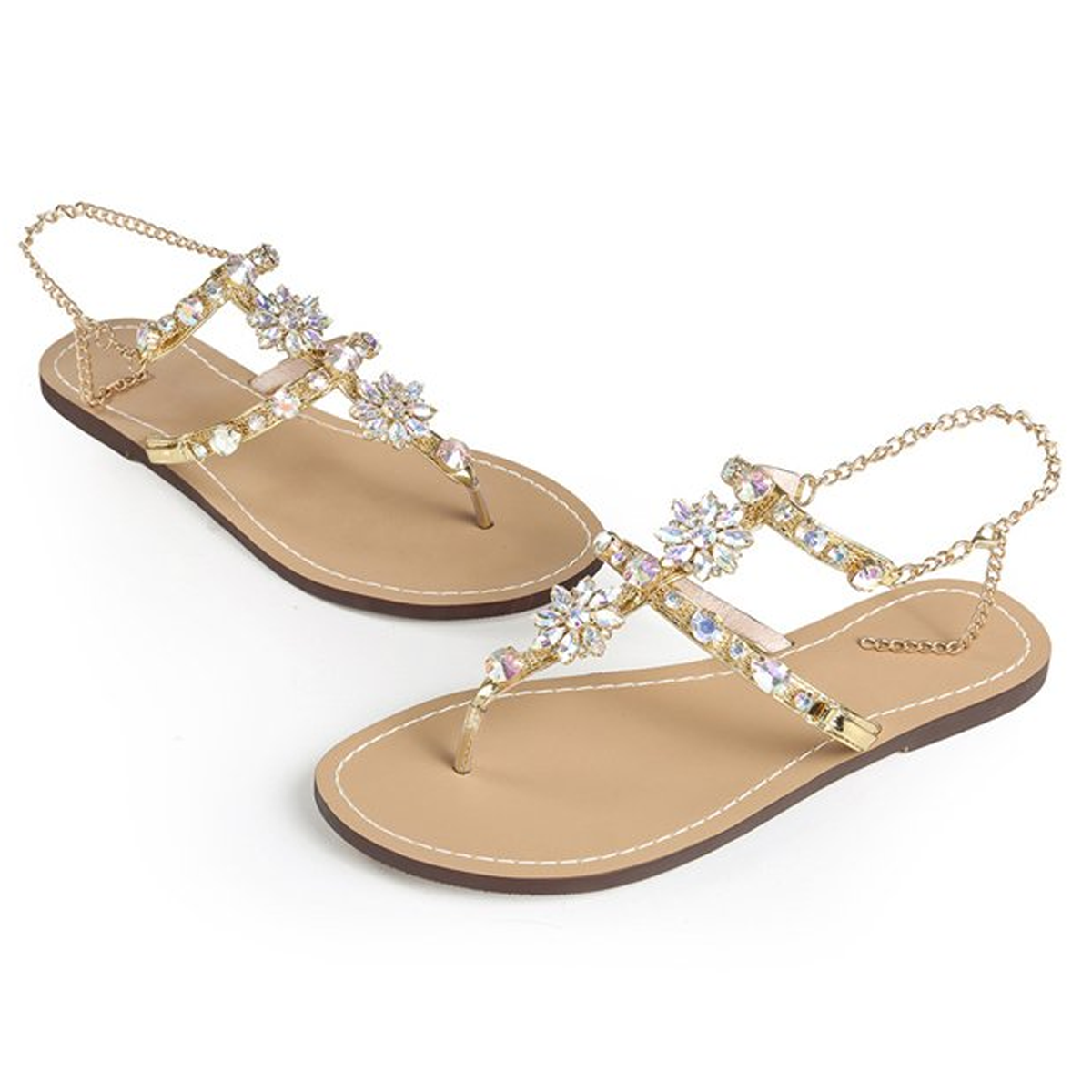 Crystal Chain Flat Bottom Rome Sandals