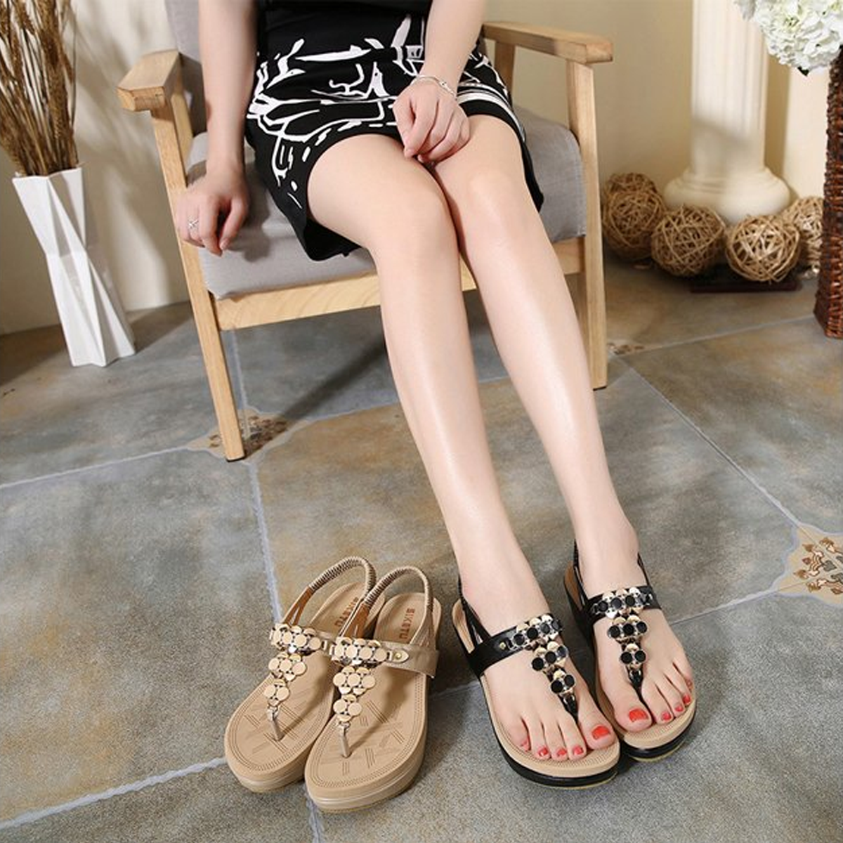 Fashion Metal Buckle Thick Bottom Sandals