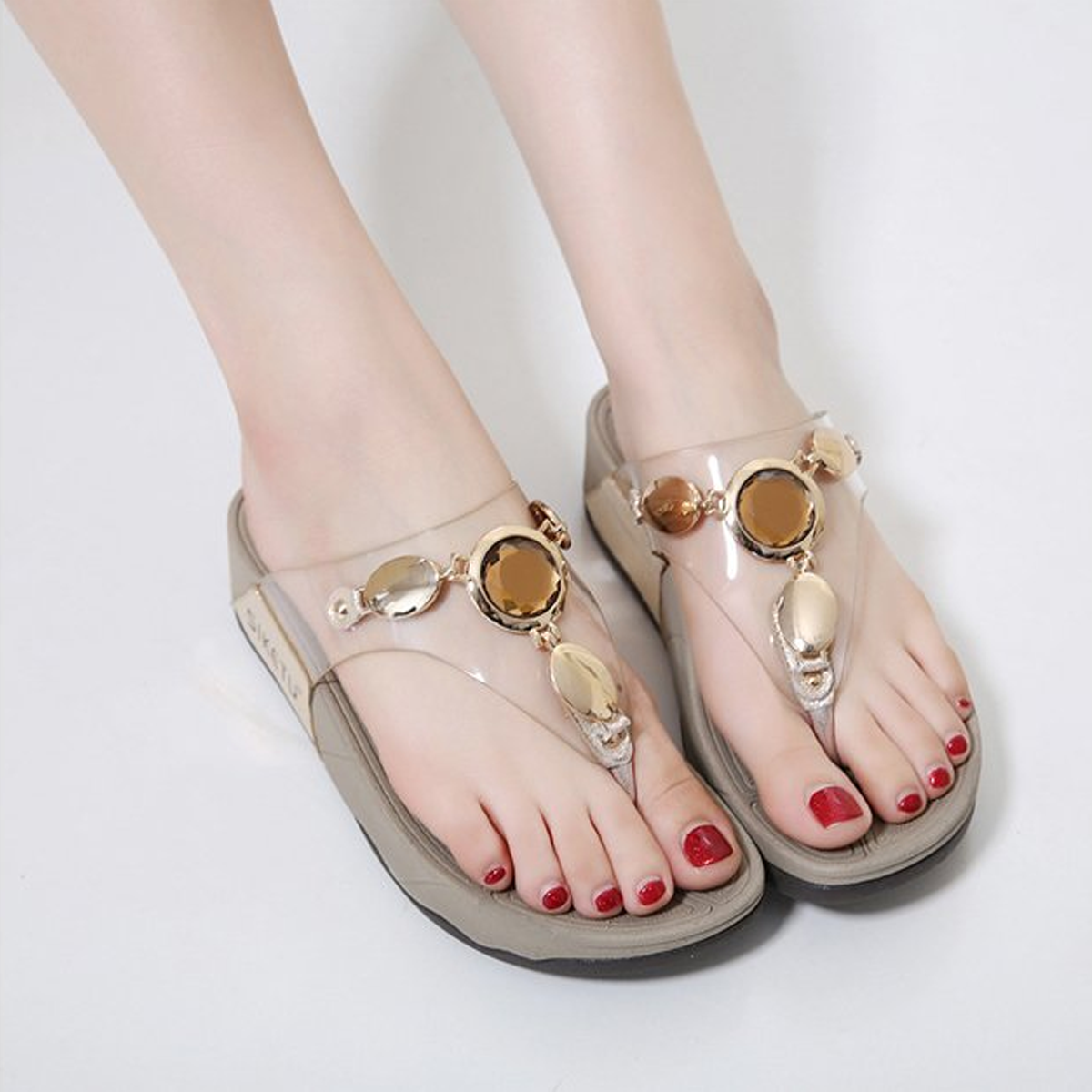 Transparent Crystal Woman Casual Slippers