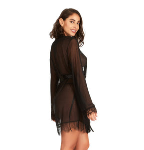 Midnight Tease Lace and Mesh Robe