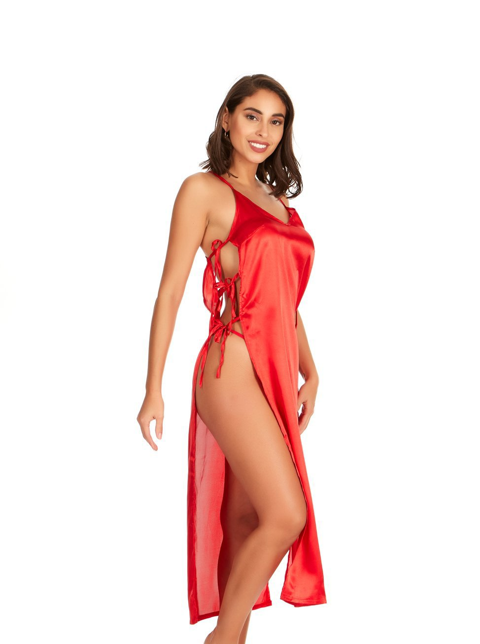Lace Me Up Satin Gown