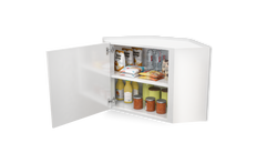 White Wall Steel Kitchen Corner Cabinet  45° 1 Door