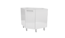 "White Base Steel Kitchen Corner Cabinet  45°  20""Deep 1 Door (no top)"