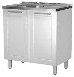 "White Base Steel Kitchen Cabinet 32""W x 20""Deep 2 Doors (With Sink)"