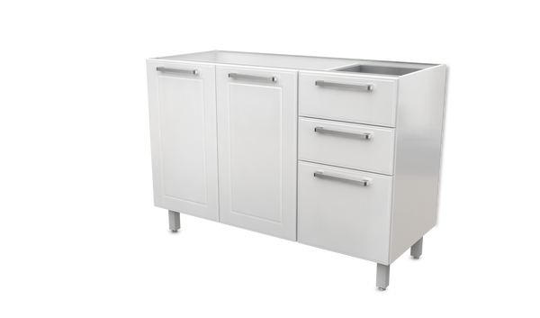 "White Base Steel Kitchen Cabinet 2 Doors 3 Drawers 48""W X"