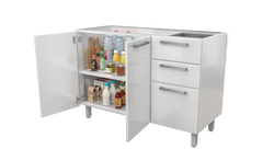 "White Base Steel kitchen Cabinet 2 Doors 3 Drawers 48""W x 20"" Deep (No top)"