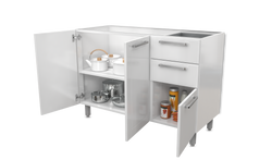 "White Base Steel Kitchen Cabinet 48""W x 24""Deep 3 Doors & 2 Drawers (no top)"