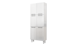 "White Tall Steel Kitchen Cabinet 32""W x 80""H x 12""Deep 6 Doors"