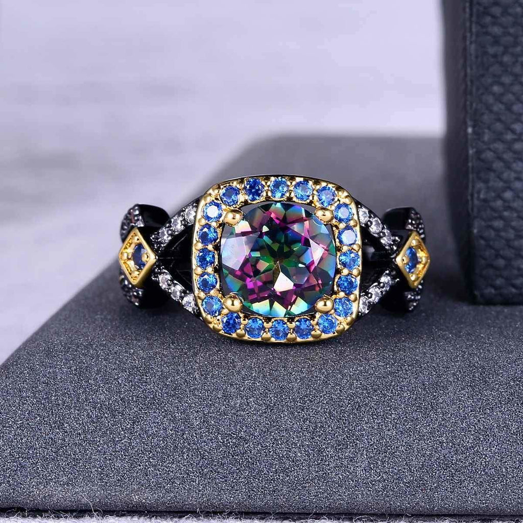 Black Gold Plated Quartz And Zirconia Ring