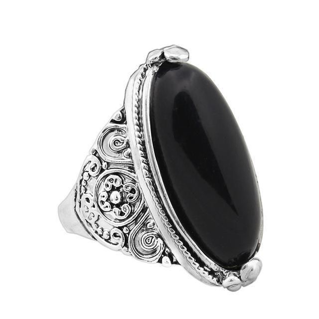 Oval Natural Stone Ring 7 / Black