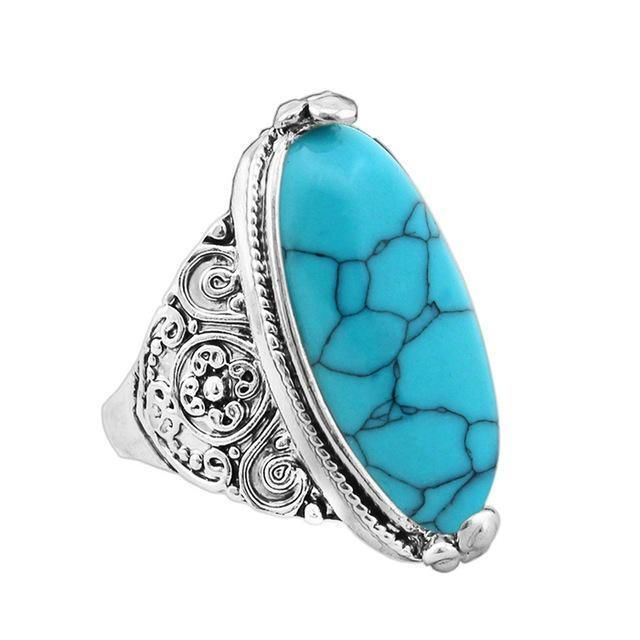 Oval Natural Stone Ring 7 / Blue