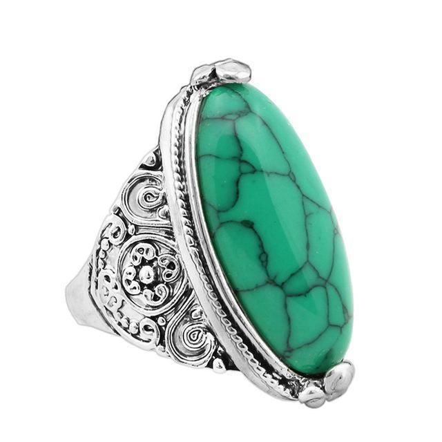 Oval Natural Stone Ring 7 / Green
