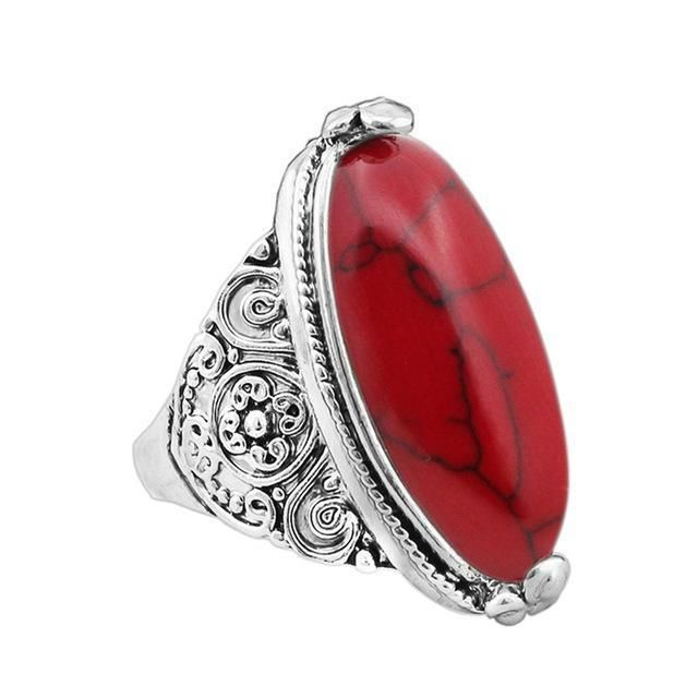 Oval Natural Stone Ring 7 / Red