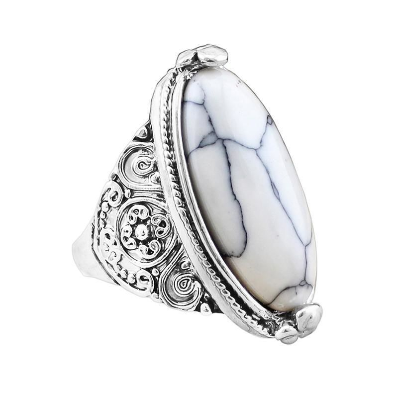 Oval Natural Stone Ring 7 / White