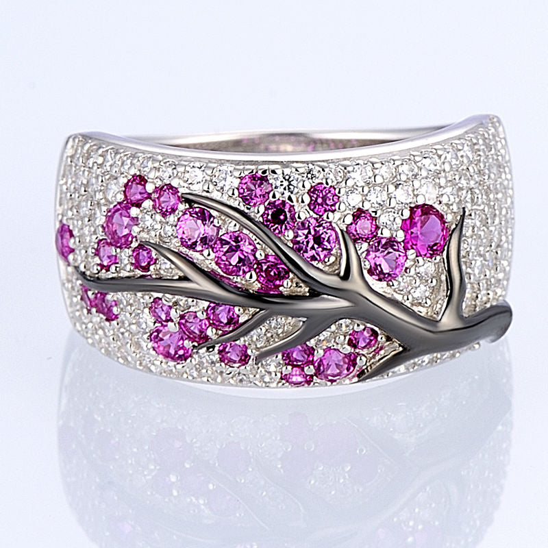 Pink Ruby and 925 Sterling Silver Branch Ring