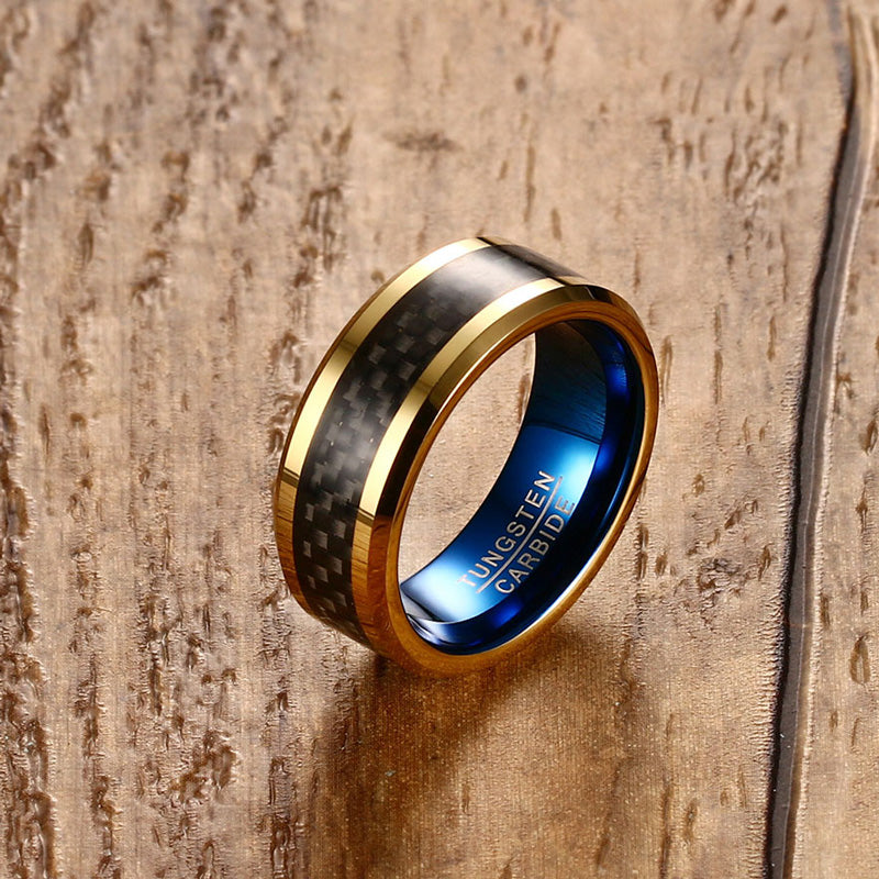 Blue and Gold Tungsten Carbide Ring With Carbon Fiber Inlay