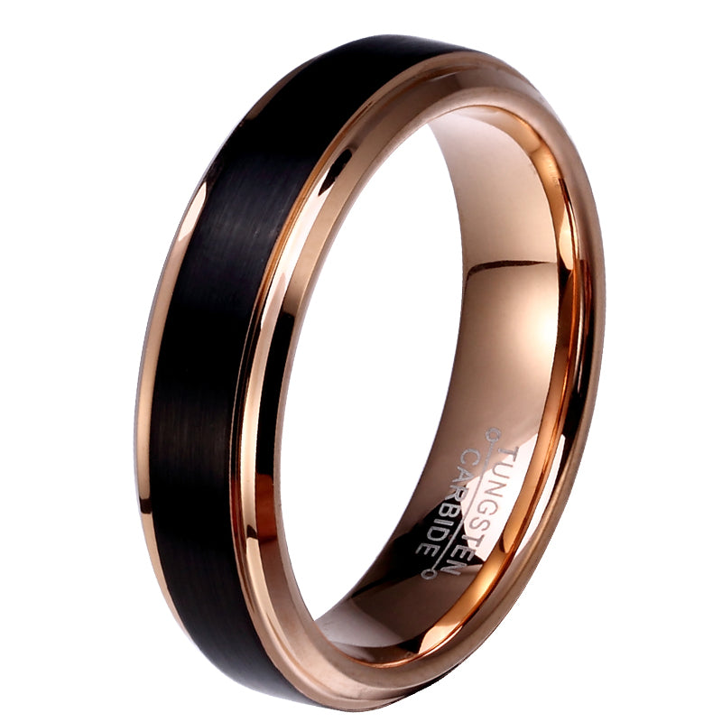 Rose Gold And Black Tungsten Carbide Ring - 8mm/6mm/4mm