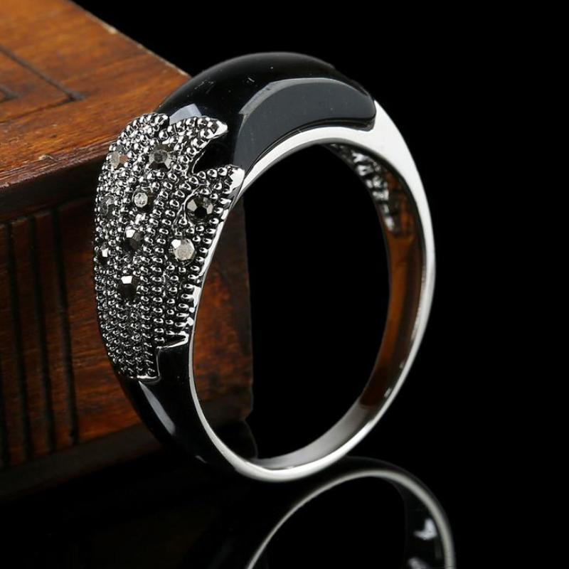Rhinestone Geometric Antique Ring