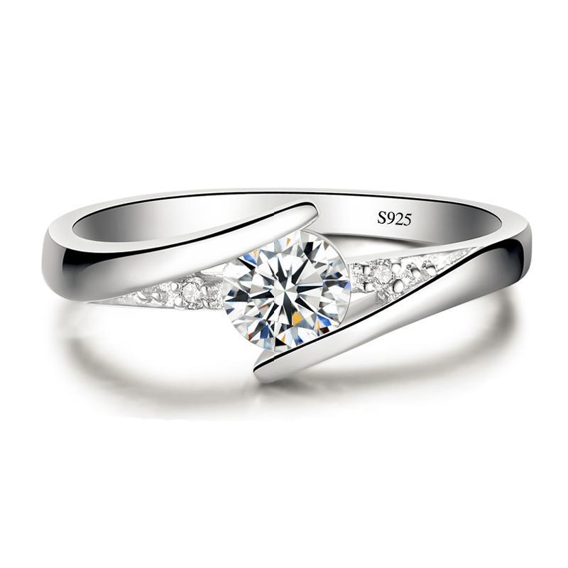 0.5 Carat Cubic Zirconia and 925 Sterling Silver Ring