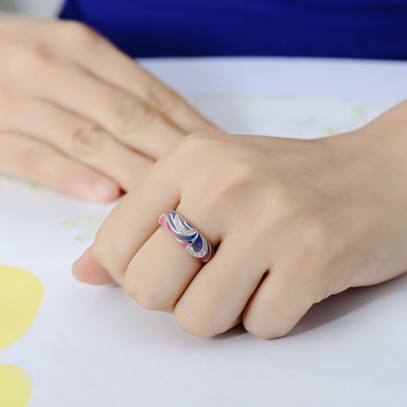 Pink and Blue Wave Enamel And CZ ring