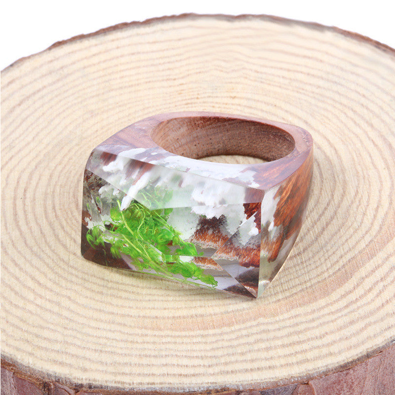 Green Leaves Wooden Resin Ring