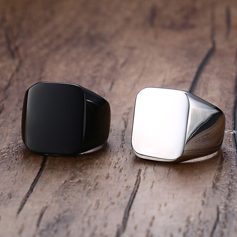 Stainless Steel Square Signet Ring