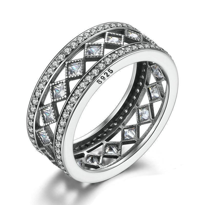 925 Sterling Silver and Cubic Zirconia Double Band Ring