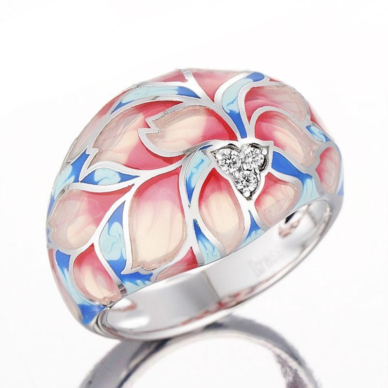 Pink Flower Enamel And CZ Ring