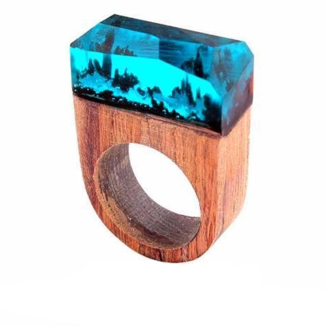 Blue Under The Sea Wooden Resin Ring