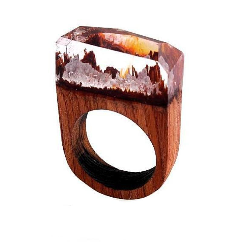 White Under The Sea Wooden Resin Ring