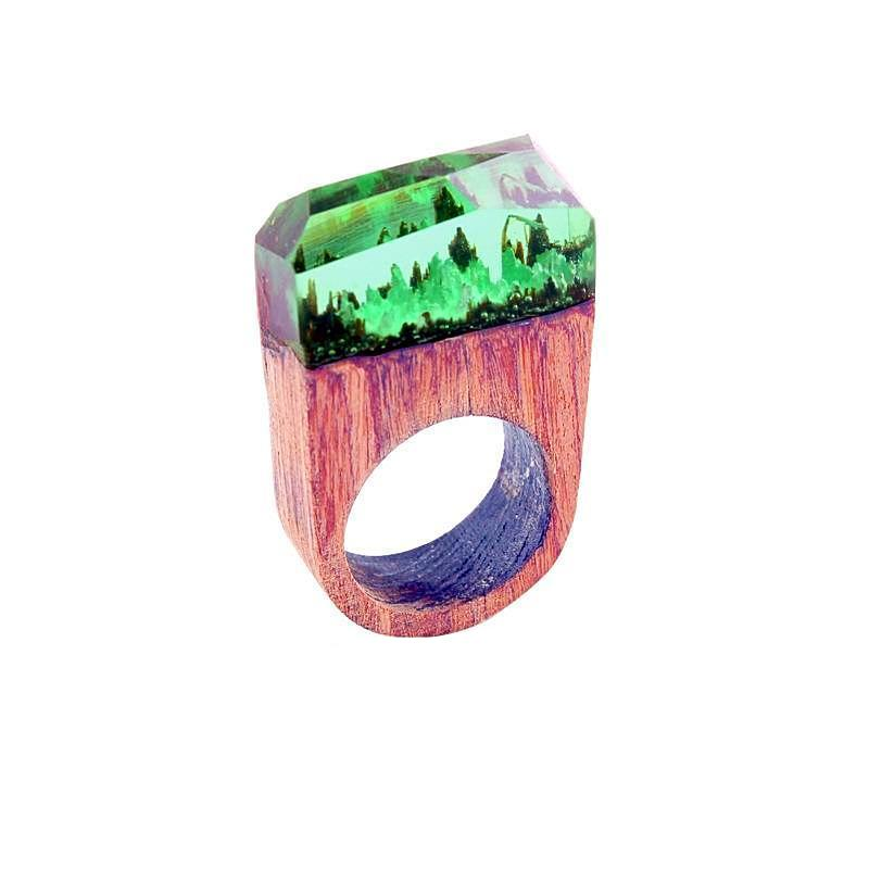 Green Under The Sea Wooden Resin Ring