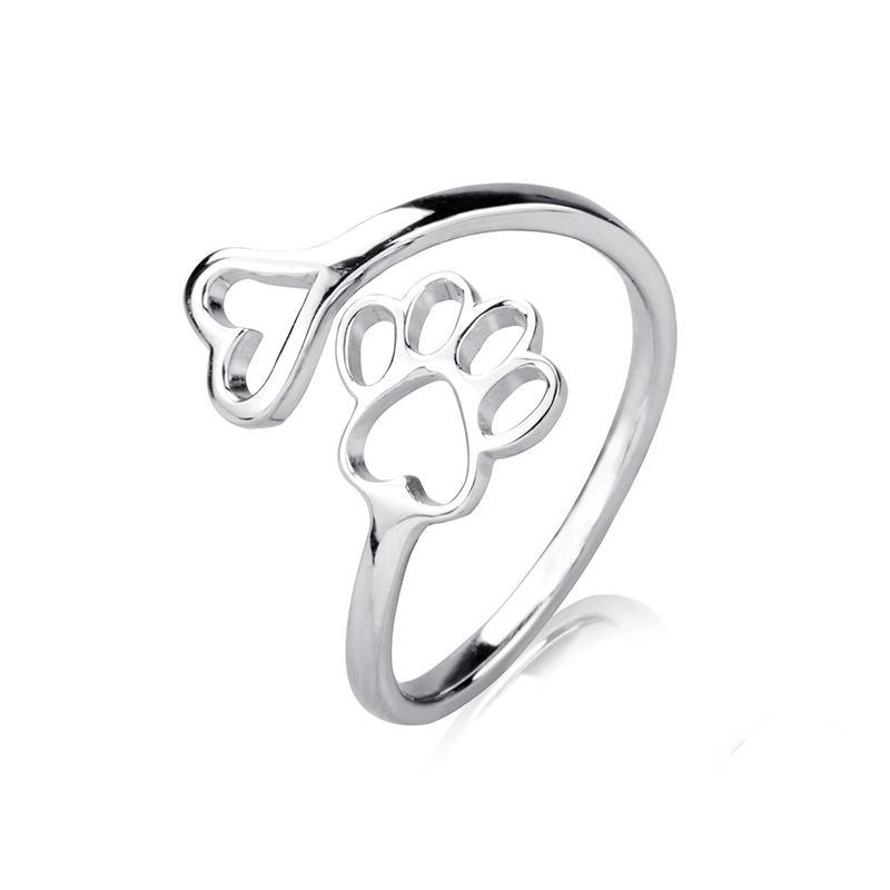 925 Sterling Silver Dog Paw Ring