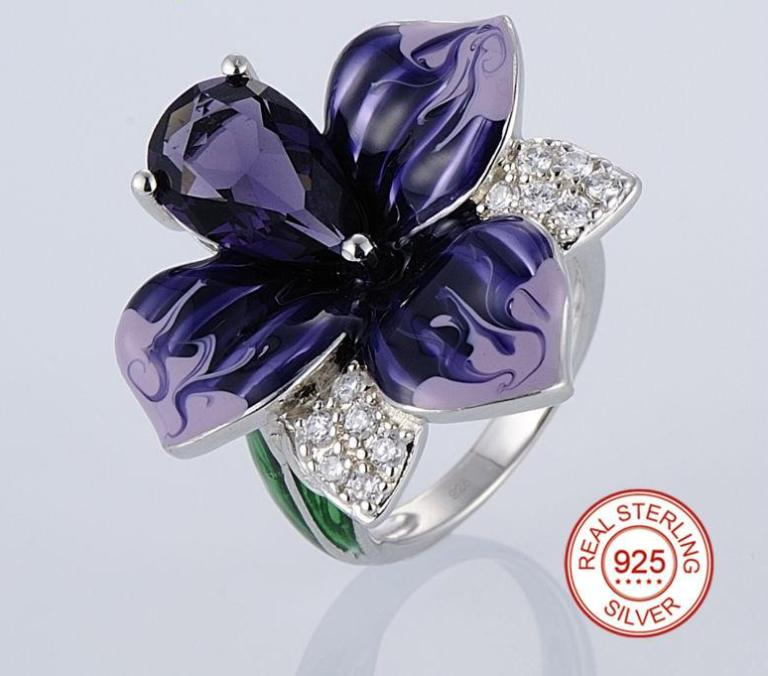 925 Sterling Silver Purple Flower Enamel And CZ Ring