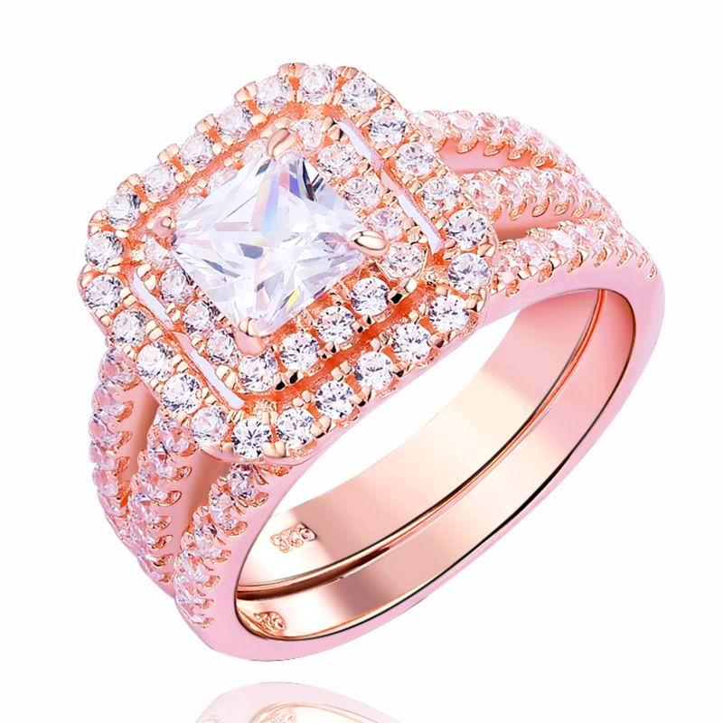 2 Piece Rose Gold Plated 925 Sterling Silver And Squared CZ Ring