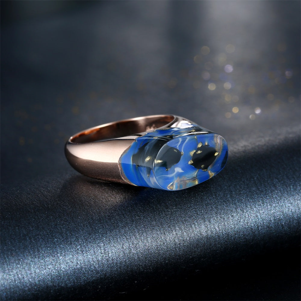 Dolphins In The Sea Resin Ring