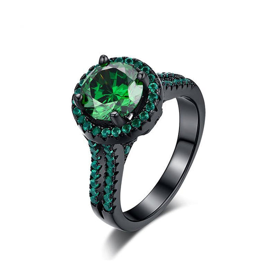 14 Karat Black Gold And Green Cubic Zirconia Ring