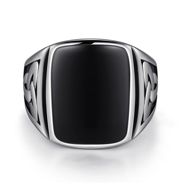 Titanium and Black Cubic Zirconia Signet Ring