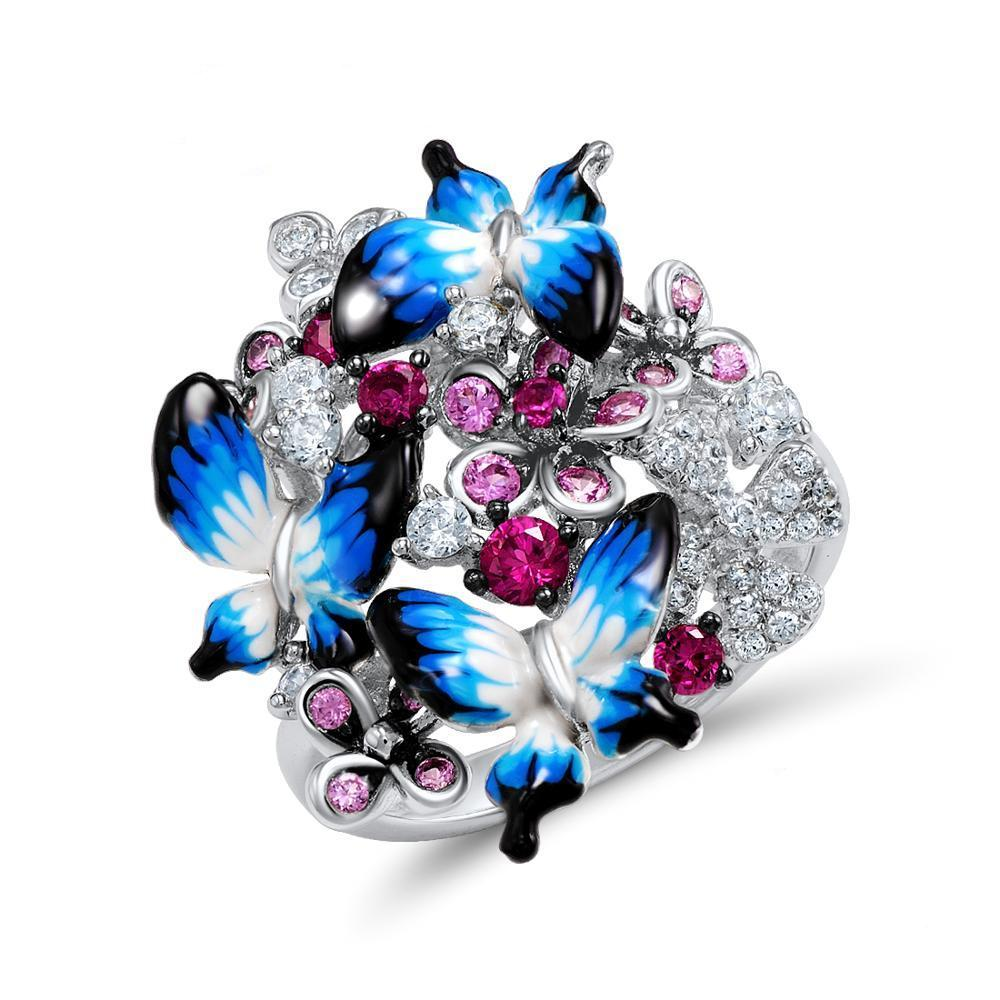 925 Sterling Silver Butterfly Bouquet Enamel And CZ Ring