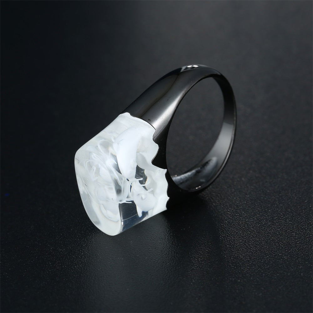 White Dolphins In The Sea Resin Ring Swim