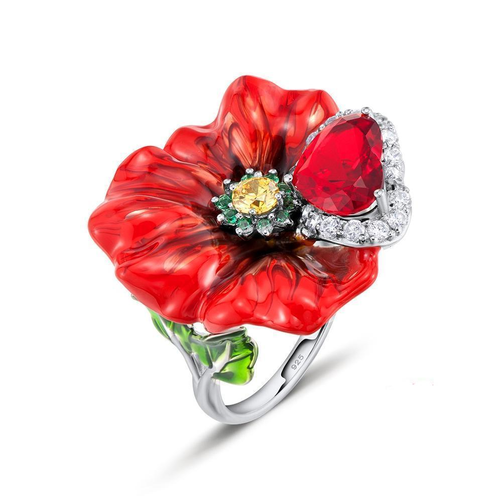 925 Sterling Silver Red Flower Enamel And CZ Ring