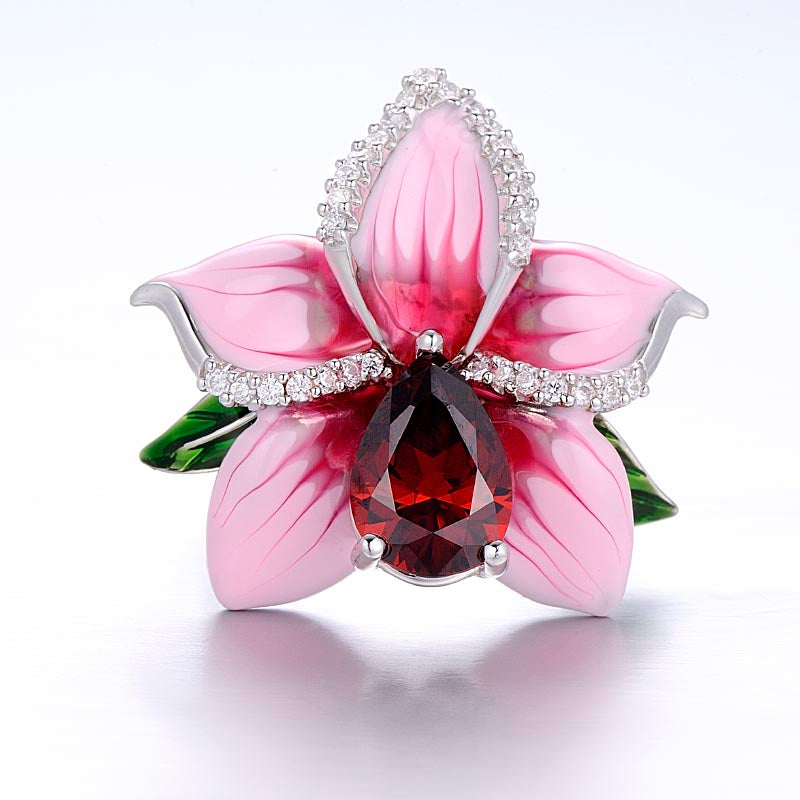925 Sterling Silver Pink Flower Enamel And CZ Ring